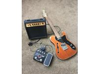 Electric Guitar, Amp, Pedal and Case
