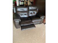 Brown Leather Two Seater Sofa Recliner