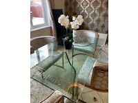Glass dining table with Versace Greek design