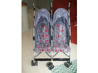 Twin Buggy , Mothercare Zoob2 double stroller, sise by side ,lightweight folding with accessories