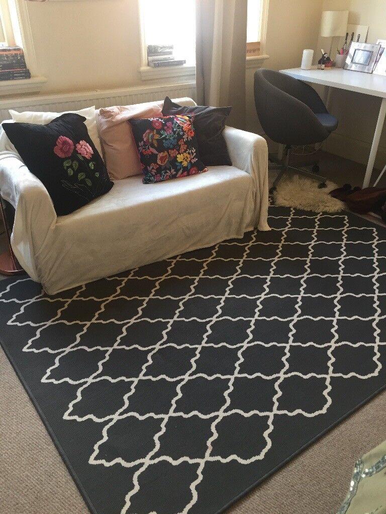 ikea grey white hovslund rug in angel london gumtree. Black Bedroom Furniture Sets. Home Design Ideas