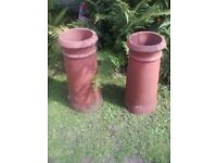 Lovely pairof terracotta chimney pots