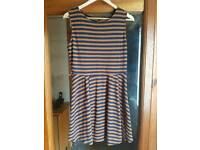 Navy & Tan Striped Skater Dress