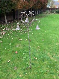 Metal heart, birds and bells garden ornament