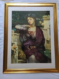 Lesbia and Her Sparrow Print by Edward Poynter in frame
