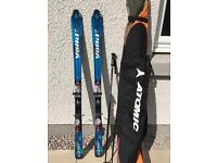 156cm Volkl V3 carving skis with poles and bag