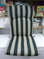 HIGH BACK CHAIR CUSHION NEVER USED GREEN AND BEIGE STRIPES