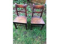 Pair of antique oak chairs