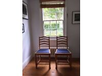 2 Beautiful Oak Arts and Crafts Dining Chairs