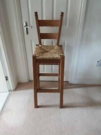 SET OF FOUR OAK KITCHEN BAR STOOLS