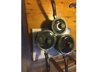 3 Procook titanium saucepans with Pyrex lids