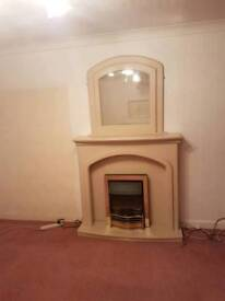 Electric fire with surround, hearth and mirror