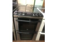 55CM BLACK STAINLESS STEEL ZANUSSI ELECTRIC COOKER