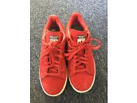 Red suede Stan smith adidas trainers