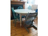 Beautiful solid wood dining table. Painted in Annie Sloan chalk paint. Rustic/farmhouse/shabby