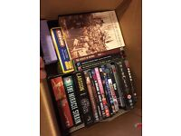 Car boot - 10 boxes inc books, DVDs, jigsaws, games, figures, toys, clothes, bags & Filofax