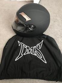TMS Matt black motorcycle helmet