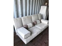 Gorgeous Modern Beige/Cream Suede Click Clack Sofabed. Excellent As New Condition. Can Deliver.