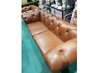 chesterfield leather suite,3seater and chair in light brown,immaculate