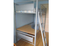 Metal bunk bed with desk + mattress included