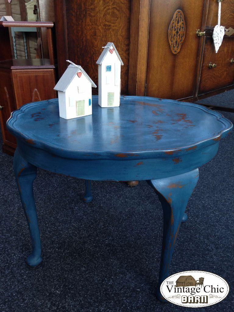 Shabby Chic Aubusson Blue Annie Sloan Round Coffee Table Queen Anne Legs In Loughborough