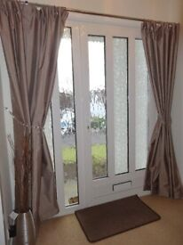 Black out lined silk effect curtains in a lovely mink / beige colour
