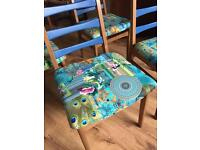 4 wooden Upcycled chairs