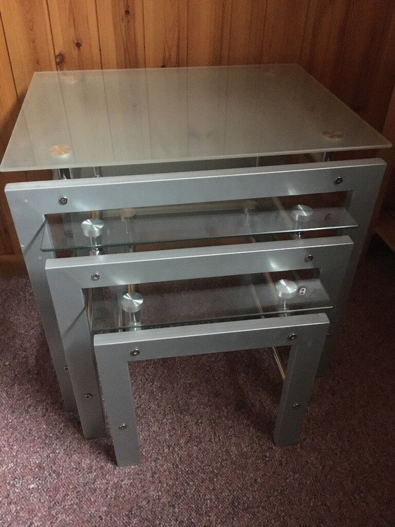 Glass & metal nest of 3 tables
