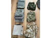 Job lot of British and US army bags jackets etc