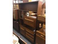 Retro room divider. Vintage teak bookcase bookshelf sideboard danish mid century