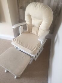 White wood, Reclining nursing chair & matching foot stool