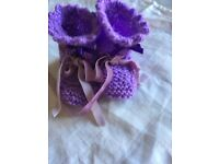 Brand new knitted baby booties