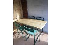 Handmade Pine Dining Table With Hairpin Legs