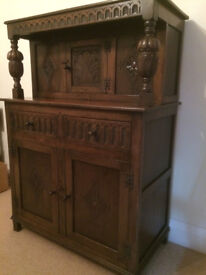 Small Oak Court Cupboard with carved doors.