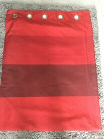 Pair of Next Red Panneled lined eyelet curtains 90 x 90 ins