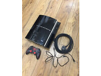 PS3 40Gb Complete with NEW aftermarket controller - USB charge lead and mains lead