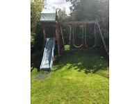 Swing, slide set, climbing garden set