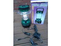 Super bright 20 LED rechargeable camping lantern with mains charger and 12v car charger.