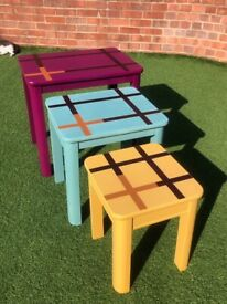 Upcycled Solid Wood Nest of 3 Tables £50ono
