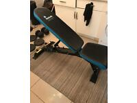 Foldable weightbench and weights