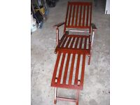 Hardwood adjustable reclining chair colour Mahogany. Good used condition. Free local delivery.