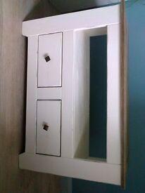 TV/DVD 'shabby chic' chalk painted stand. Solid wood (no veneer) cream & wood.