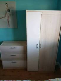 Wardrobe and 1 Chest of Drawers