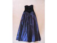 Laura Ashley Strapless Blue and Black Ball Dress UK14