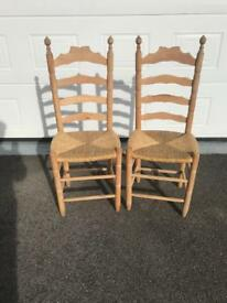 Four pine high back chairs