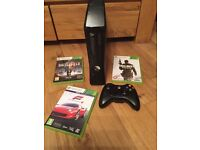 X BOX 360 EXCELLENT CONDITION HARDLY USED WITH CONTROLLER AND 3 GAMES