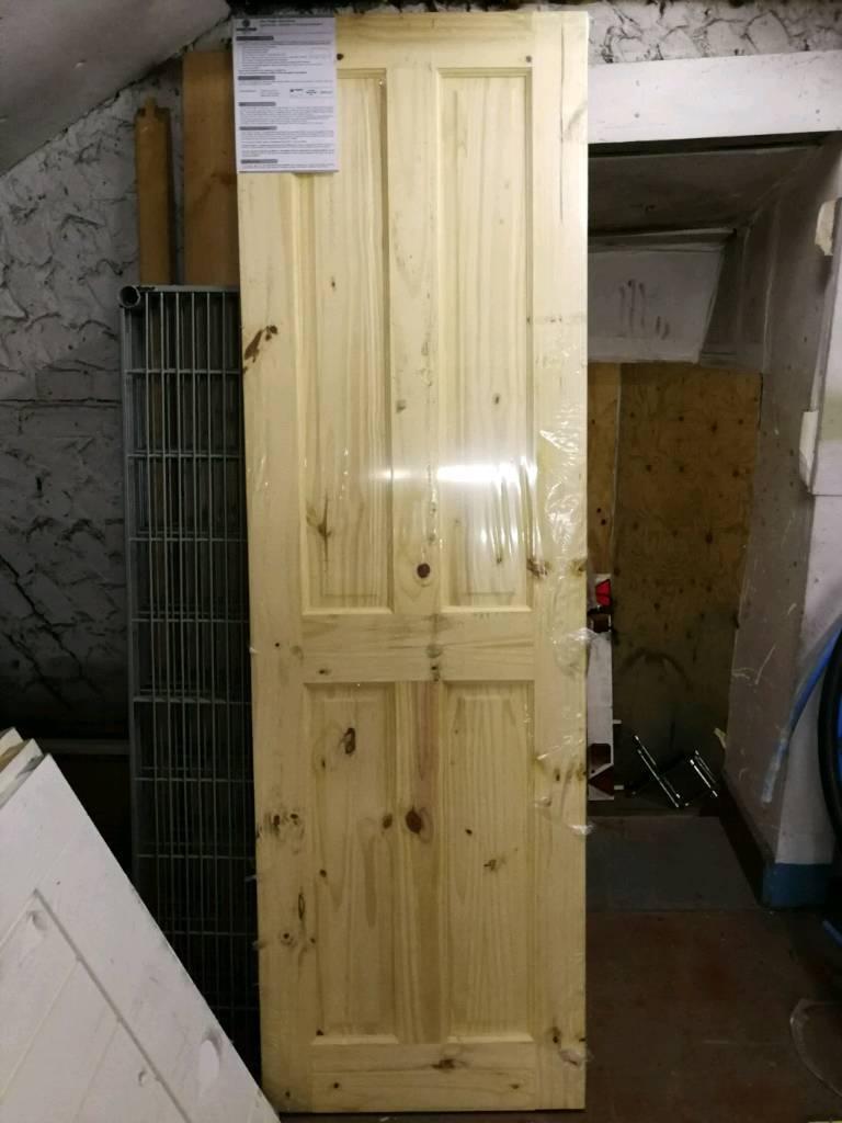 1X New pine 4 Panel door size 27/78