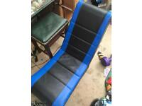 Gaming computer chair blue and black leather for Xbox playstation PS4 Nintendo etc