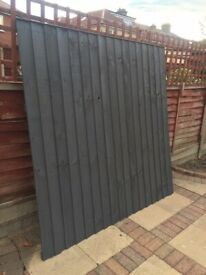 Anthracite Charcoal Grey Feather Edge Fence Panels 6ft x 6ft 1.83m x 1.83m