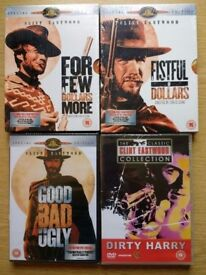4 x Clint Eastwood DVDs, shrink wrapped, as new